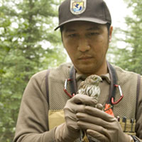 Fish and Wildlife Service employee holding a tagged bird